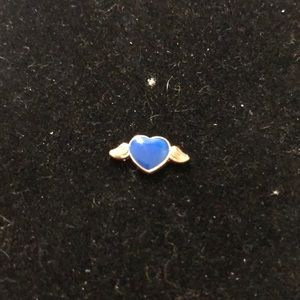Jewelry - Charm for locket Navy Blue Heart with Gold Wings